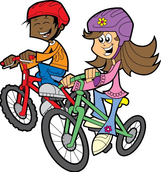 Clipart of two children riding bikes